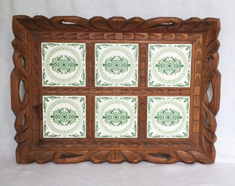 Vintage Carved Wood Tray with Green Tiles