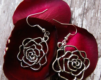 Silver Plated Wire Rose Drop Charm Earrings, Valentine's Gift, Love Flower, Rose Jewellery, Gift For Mum, Gift For Her, Ladies Jewellery