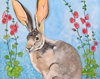 Mr. Hare Archival Watercolor Art print, Nursery art print, 8x10, 11x14.