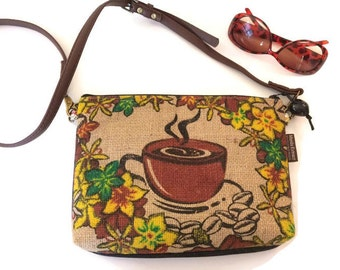 MTO. Custom. Coffee Lover. Denim and Pineapple Crossbody Bag. Repurposed Kauai Coffee Sack. Handmade in Hawaii by Manila Extract.