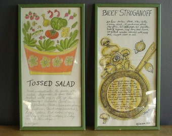 White and Green and Tasty - Two Vintage Frames with Illustrated Recipes