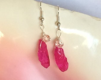 Hot Pink Quartz Point Earrings