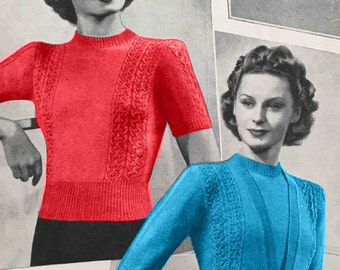 1940's vintage knitting pattern - Pretty Twinset