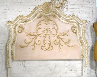 French Bed Painted Cottage Shabby Chic  Queen / King / Headboard BD764