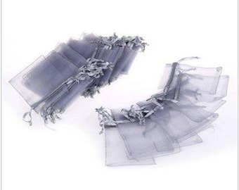 "new 100 pieces 2"" x 3"" MINI Organza Bags Party Favor Gifts wedding pouches jewerly candy silver gray 100"