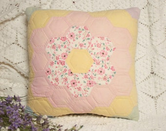 Sweet Little Grandmother's Flower Garden Vintage Quilt Pillow