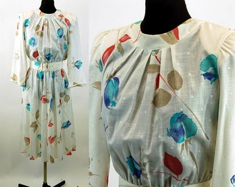 1980s dress floral tulips full skirt with pockets and belt pleated bodice Alison Peters Size M