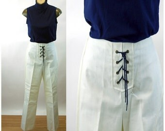 1960s white pants bell bottoms nautical sailor lace front cotton pants jeans Size L