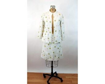 1960s suit linen suit spring suit floral flowered skirt jacket Size L