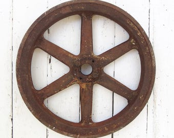 Old Iron Wheel, Salvaged Factory Pulley, Vintage Metal Wheel, Machine Gear, Rusted Wheel, Industrial, Primitive Farmhouse, Shabby Decor