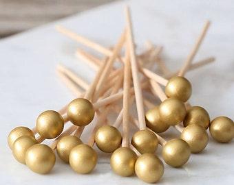 Ice Gold Lollipop Sticks, Gold Cake Pops Sticks, Boho Cake Pops, Wedding Cake Pop Sticks, Rock Candy Sticks, Gold Appetizer Picks