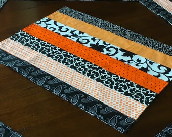5 Modern Quilted Placemats, Black and White, Orange, Cabin Decor, : set of 5, Reversible.
