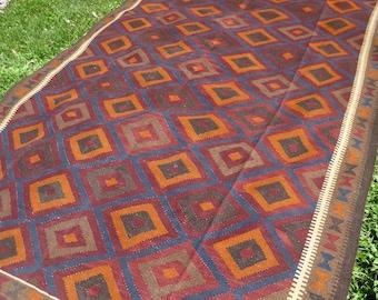"Big  Area Rug  9 ft 7"" x 6 ft 6""   Maimana Hand woven Kilim. 293 x 200 cm Traditional."