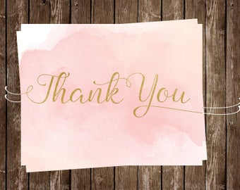 Watercolor, Thank You Cards,Pink, Blush, Gold, Bridal Shower, Wedding, Coral, Set of 24 Folding Notes, FREE Shipping, Modern, Birthday