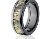 New Black Zirconium 8HR RealTree Green Licensed RealTree Camo Ring Camo Wedding Ring Black Zirconium Wedding Band : BZ-8HR-RTGREEN