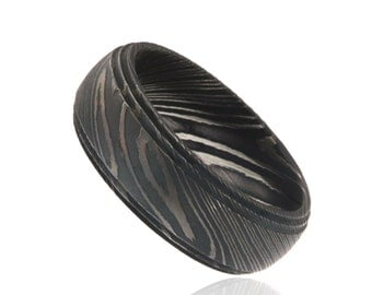 8mm Wide Damascus Steel Ring Beautifully Etched Damascus Steel Bands Wedding Rings Custom Designs - DS-82SD-WoodGrain