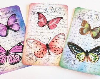 Bright Butterfly Tag - Set of 6 - Cottage Chic Tags - Spring Butterflies - Butterfly Collage - Purple Pink Blue - Green Orange - Gift Tags