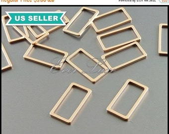 15% SALE 4 matte rose gold plated over brass base-metal 15mm rectangle silhouette brass charms, minimalist 1011-MRG-15