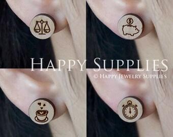 4pcs Mini (SMN107-110) DIY Laser Cut Wooden Earring Charms - SWC Series