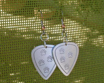 Aluminum guitar pick earrings with paw prints - paw print jewelry