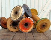 """SaleToday Rustic Vintage Old Chippy Paint 8 1/2 9 1/2"""" Wooden Textile Mill Spool Shabby Hygge Organize Ribbons and Trims with Wood Bobbin St"""
