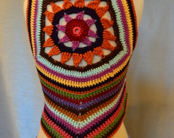 Women Crochet Gypsy Hippie Pixie Vest Sweater Top Lotus
