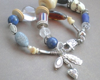Chunky White Coral. Crystal Beaded Bracelet. Blue Jean Lapis. GIFT Milagro Charms. Hand Made. Statement Bracelet. Frida Kahlo Collection.