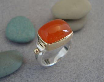 Orange Carnelian Ring in 18k Gold and Sterling Silver, Cushion Cut Bright Orange Stone Ring