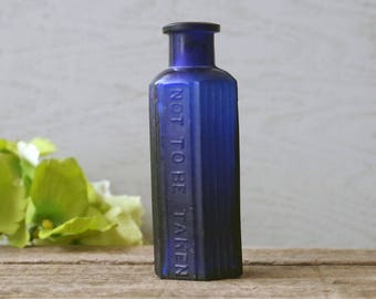 Antique Cobalt Blue Poison Bottle - Glass Apothecary Bottle Dangerous Drug