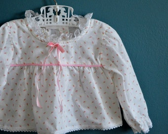 Vintage Baby Girl's Rosebud Print Blouse - Size 12 Months