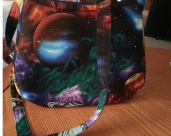 Space bag, purses science, geek bag, solar system, colorful purse, cotton shoulder bag, planet purse, Small Shoulder Bag, Item # CJF77-1004