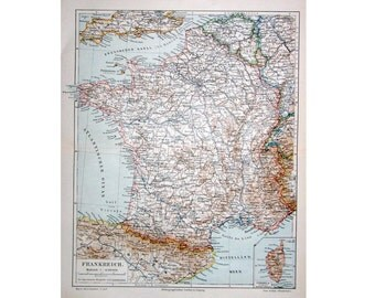 1894 FRANCE ANTIQUE MAP - original antique print - lithograph of the country of France