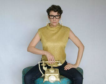 gold lurex metallic 60s shell blouse - 1211354