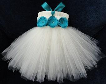 Teal Flower Girl Dress Tutu, Little Girls, Toddler Girls, Baby Girls, Flowergirl Dress, Tutu Dress, Flower Sash