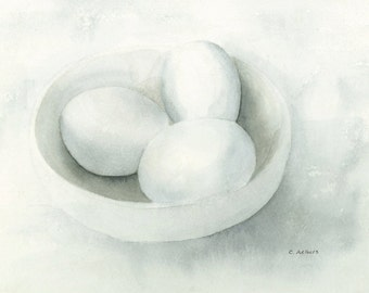 White Painting Eggs Watercolor Still Life Painting For Sale