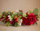 Red Roses Full Halo Flower Crown...roses, greenery and white flowers, made to match Well Dressed Wolf and Tutu Du Monde