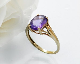 Vintage Engagement Ring | Large Amethyst Oval 9ct Gold | Vintage Amethyst & Diamond Ring | Love Token Ring - US Ring Size 7, UK Ring Size O