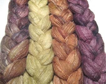 Wonder Bundle Merino & tussah silk roving 9.5 oz Autumn Whisper - hand dyed spinning felting fiber - painted top bundle - wool fiber set