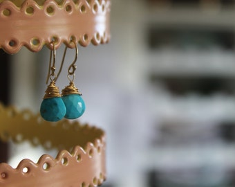 Tiny Turquoise Briolette drop earrings, Robins Egg blue, tiny beauties for everyday or a special December birthday!