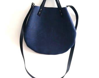 Royal blue  leather  basket bag ,Cross-body bag, handbag