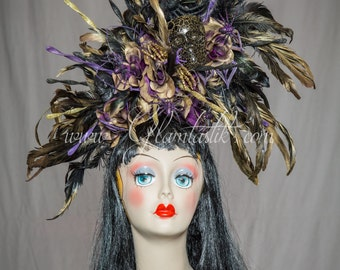 One size fits all ready to ship metallic black and gold and purple day of the dead skull hair piece