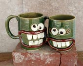 His Hers Coffee Cups. Mother's/Father's Day Gift. Frosty Green. Pair of Smiley Face Happy Beer Mugs. Mr Mrs Matching Mugs. Big 16 Ounces.