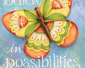 50% OFF Believe in Possiblilities Butterfly With God All Things are Possible 8x10 or 11x14 Scripture Bible Verse Art Print