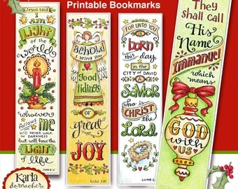 Christmas Full Color Bookmarks  Bible Journaling Tags INSTANT DOWNLOAD Scripture Digital Printable Christian Religious