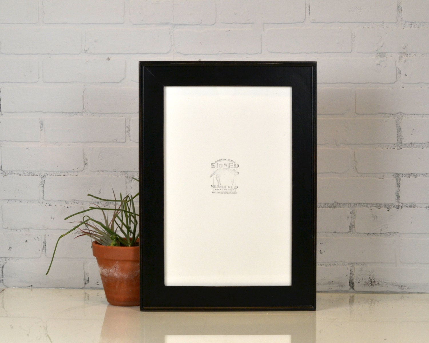 11x17 picture frame in oslo slope style with vintage black finish handmade 11 x 17 photo. Black Bedroom Furniture Sets. Home Design Ideas