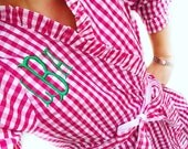 Ruffle Gingham monogram robe SMALL/MEDIUM (pink or blue gingham available)
