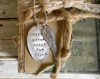 Spoon Necklace, Stamped Spoon Necklace, With Brave Wings She Flies Wing Charm Necklace, Silver Spoon Jewelry, Spoon Pendant, Wing Necklace