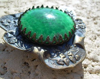 Vintage Ornate Brass tone Belt Buckle, with Lovely Green Glass Cabochon