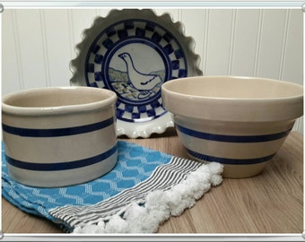 VINTAGE Bowl Crock and Baking dish Set of Three Country Kitchen Cookware