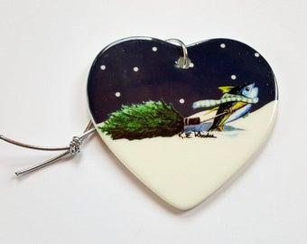 Yellowfin Tuna Holiday Christmas ornament heart shaped porcelain ready to hang